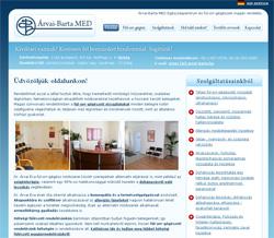 Árvai Barta MED weboldal nyitó oldala